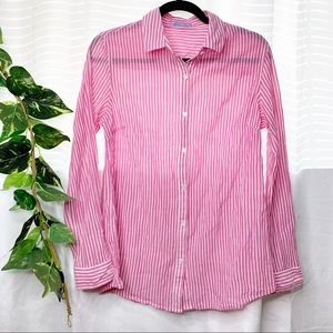 J. Mclaughlin striped linen blend button up shirt